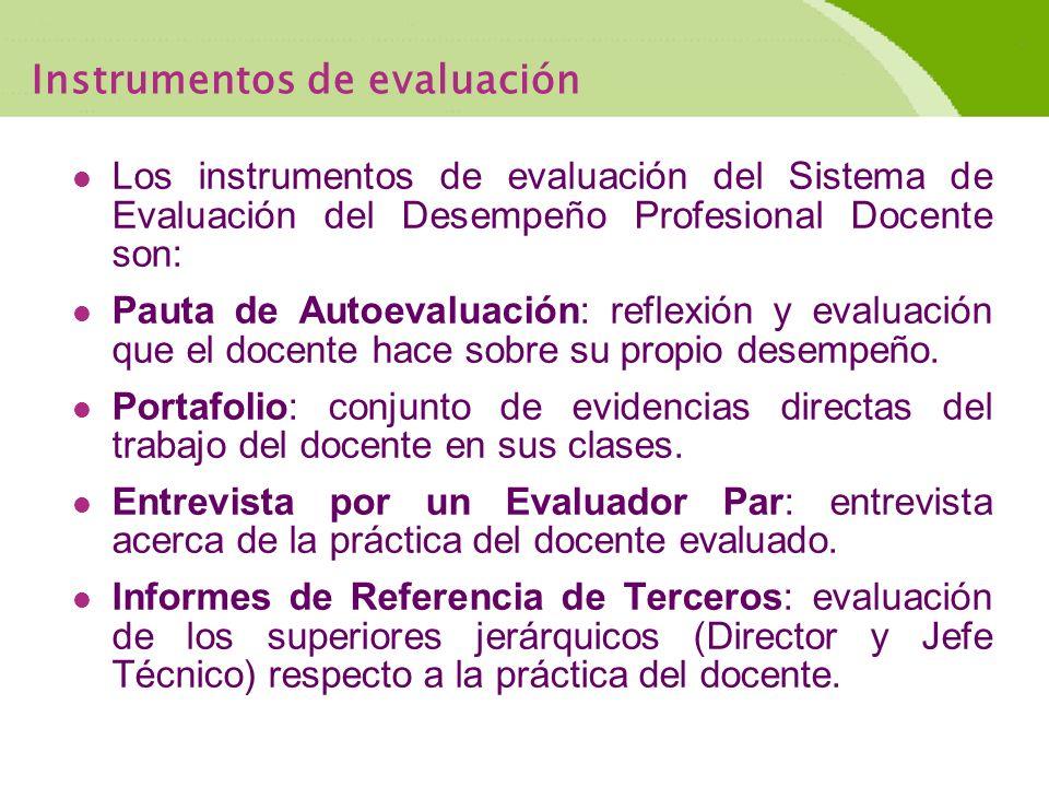 Instrumentos de evaluación Los instrumentos de evaluación del Sistema de Evaluación del Desempeño Profesional Docente son: Pauta de Autoevaluación: reflexión y evaluación que el docente hace sobre su propio desempeño.
