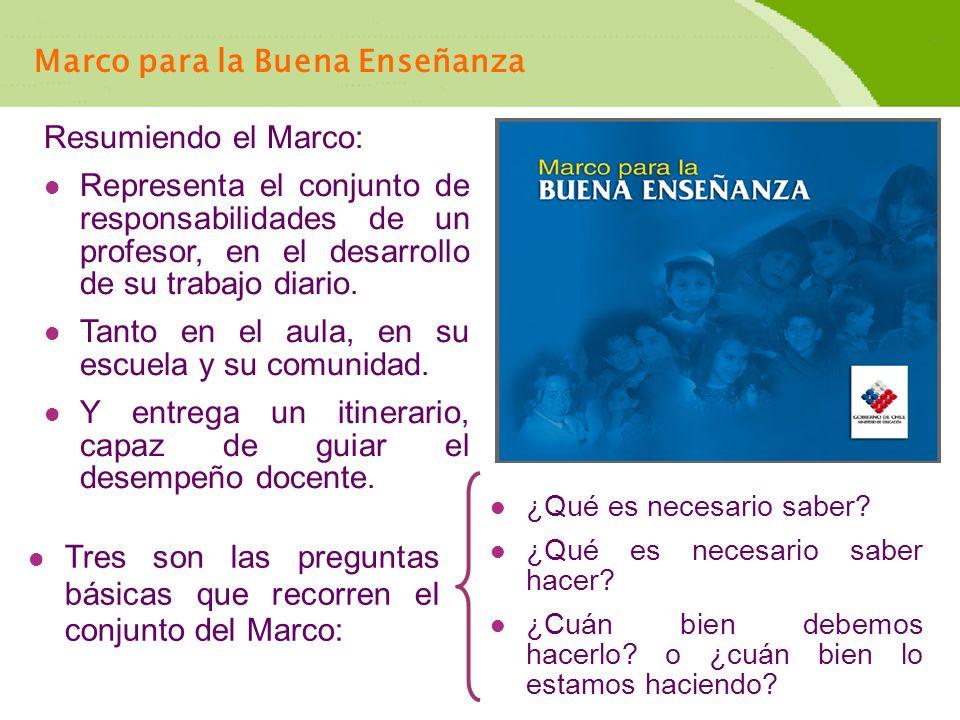 Los Cuatro Dominios del Marco para la Buena Enseñanza El Marco para la Buena Enseñanza se estructura en cuatro dominios que hacen referencia a aspectos distintos de la enseñanza, siguiendo el ciclo total del proceso educativo.