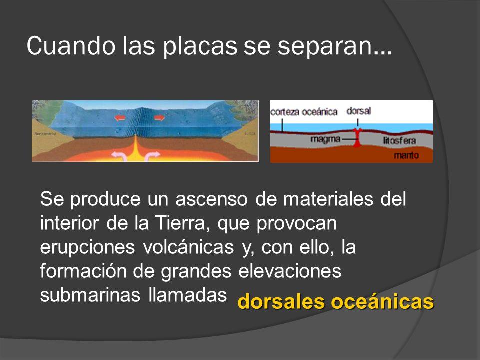Cuando las placas se separan… Se produce un ascenso de materiales del interior de la Tierra, que provocan erupciones volcánicas y, con ello, la formac