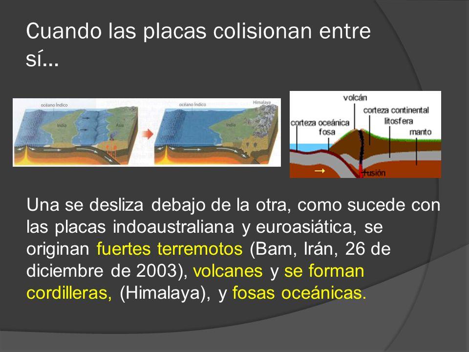 Cuando las placas colisionan entre sí… Una se desliza debajo de la otra, como sucede con las placas indoaustraliana y euroasiática, se originan fuerte