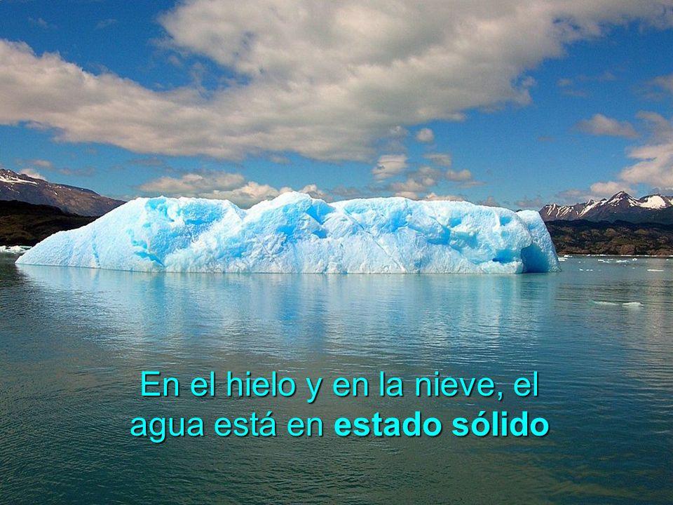 En el hielo y en la nieve, el agua está en estado sólido