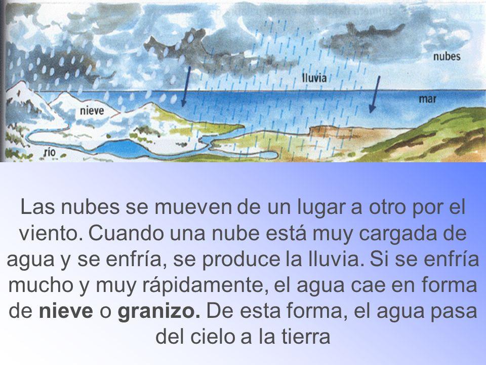 Las nubes se mueven de un lugar a otro por el viento. Cuando una nube está muy cargada de agua y se enfría, se produce la lluvia. Si se enfría mucho y