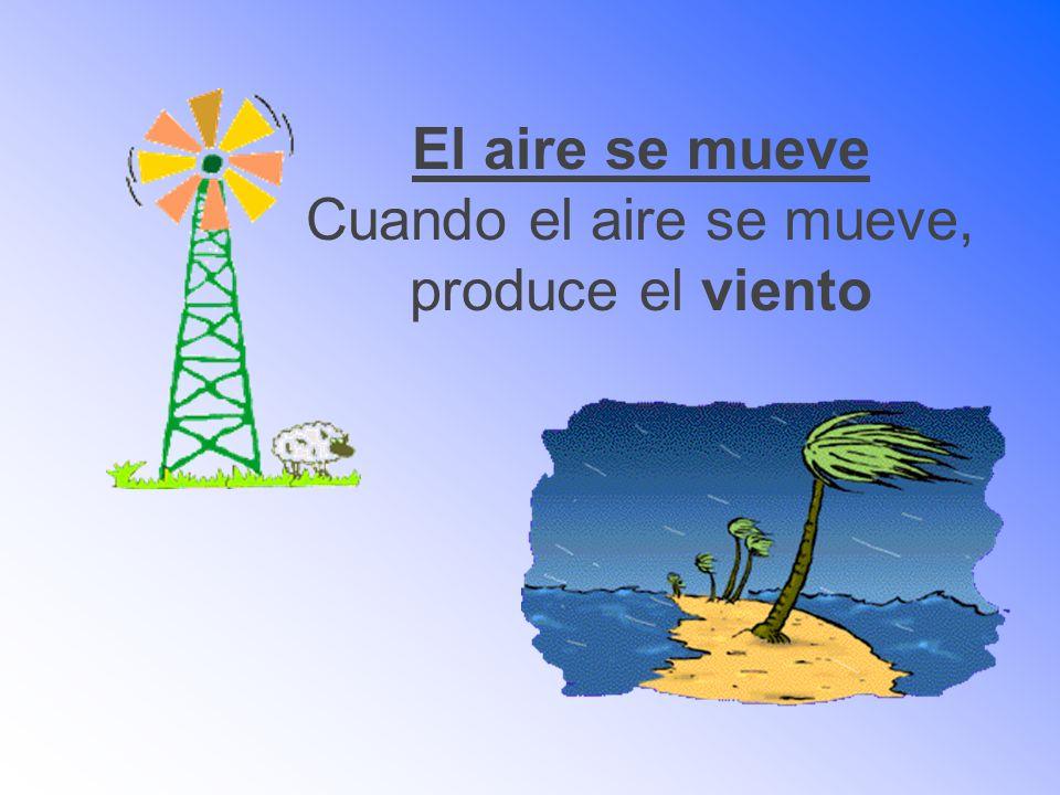 El aire se mueve Cuando el aire se mueve, produce el viento
