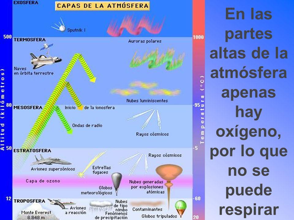 En las partes altas de la atmósfera apenas hay oxígeno, por lo que no se puede respirar