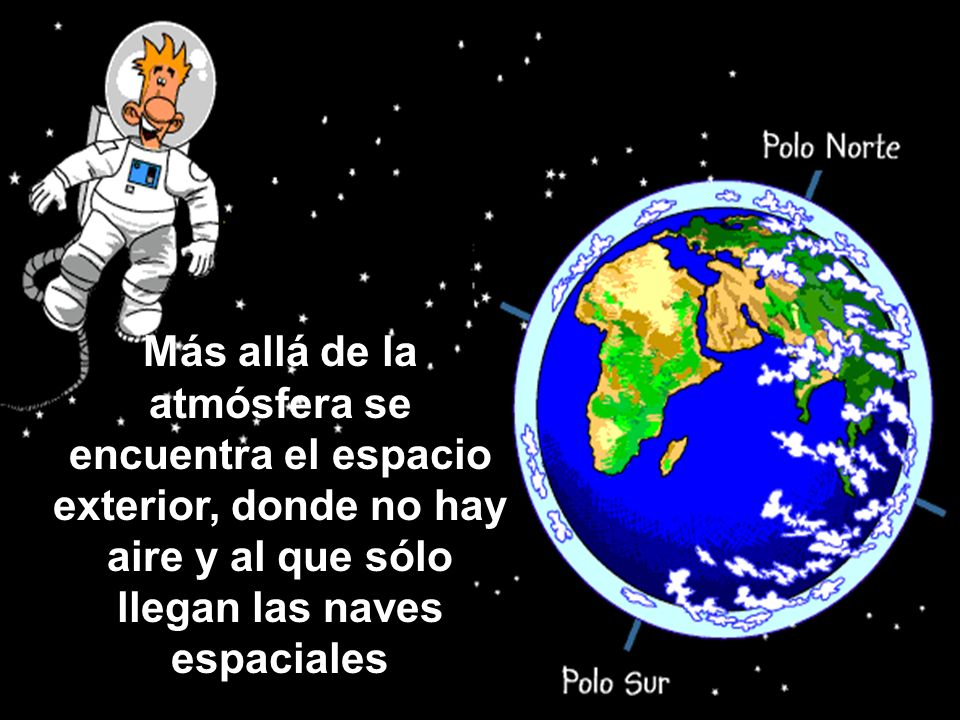 Más allá de la atmósfera se encuentra el espacio exterior, donde no hay aire y al que sólo llegan las naves espaciales