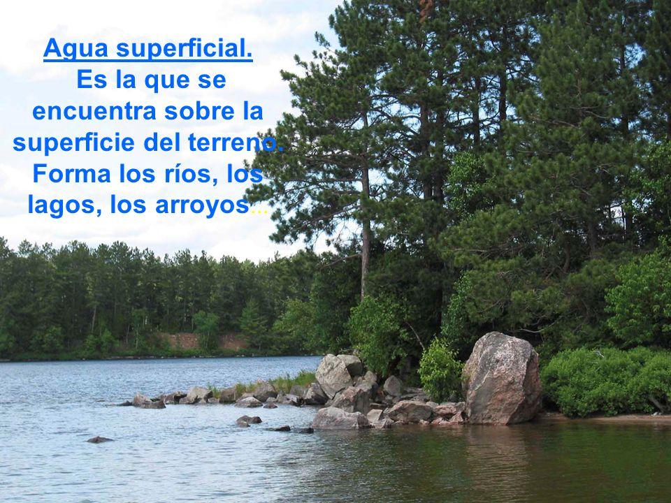 Agua superficial. Es la que se encuentra sobre la superficie del terreno. Forma los ríos, los lagos, los arroyos...