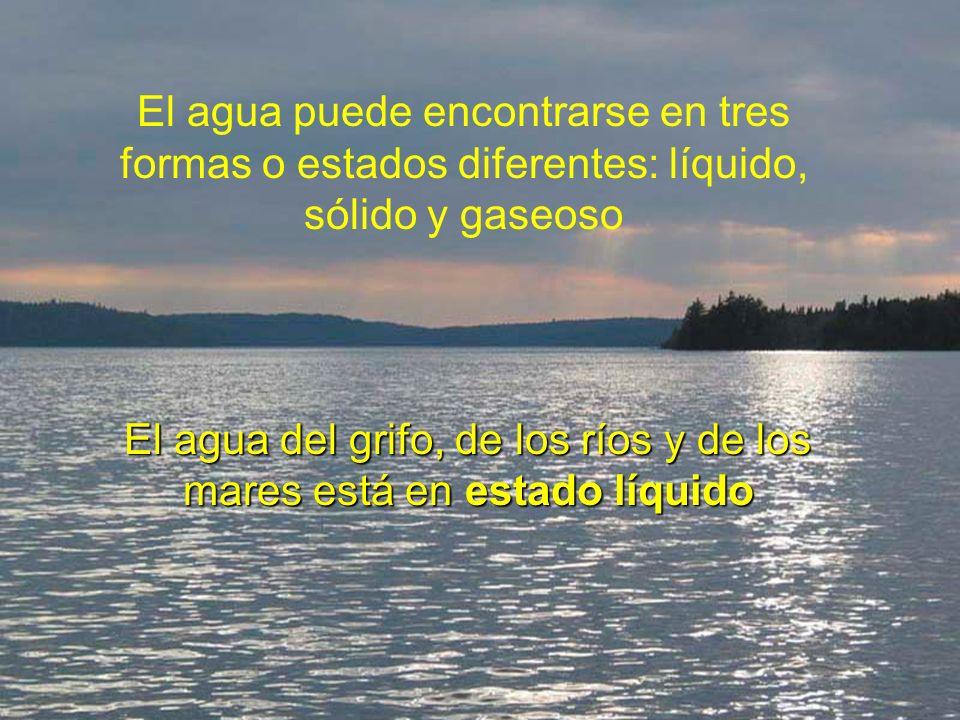El agua puede encontrarse en tres formas o estados diferentes: líquido, sólido y gaseoso El agua del grifo, de los ríos y de los mares está en estado