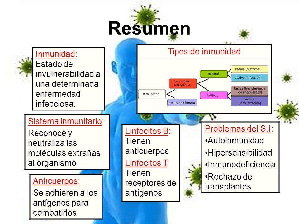 Resumen Tipos de inmunidad Inmunidad: Estado de invulnerabilidad a una determinada enfermedad infecciosa. Anticuerpos: Se adhieren a los antígenos par