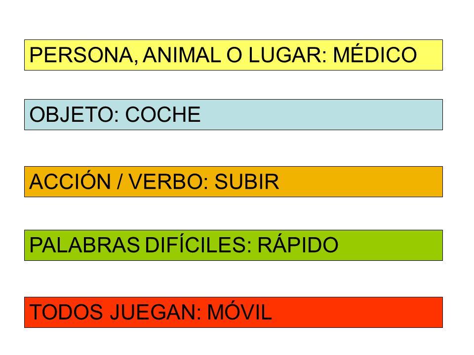 OBJETO: COCHE ACCIÓN / VERBO: SUBIR PERSONA, ANIMAL O LUGAR: MÉDICO PALABRAS DIFÍCILES: RÁPIDO TODOS JUEGAN: MÓVIL