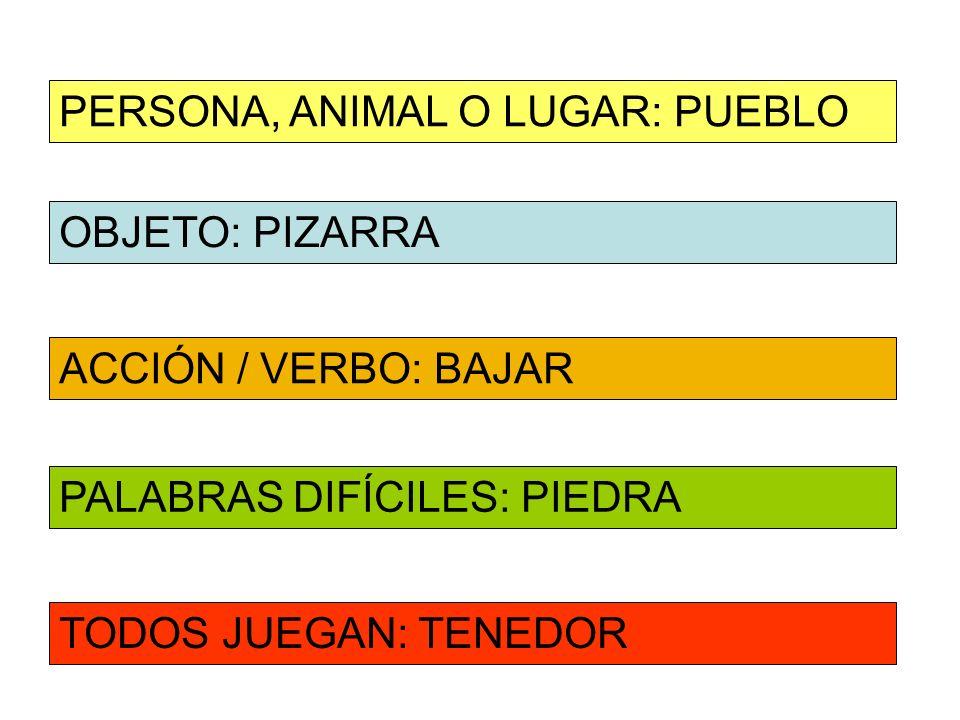 OBJETO: PIZARRA ACCIÓN / VERBO: BAJAR PERSONA, ANIMAL O LUGAR: PUEBLO PALABRAS DIFÍCILES: PIEDRA TODOS JUEGAN: TENEDOR