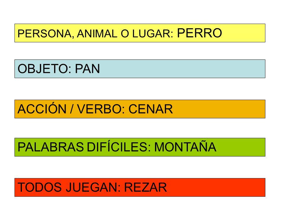 OBJETO: PAN ACCIÓN / VERBO: CENAR PERSONA, ANIMAL O LUGAR: PERRO PALABRAS DIFÍCILES: MONTAÑA TODOS JUEGAN: REZAR
