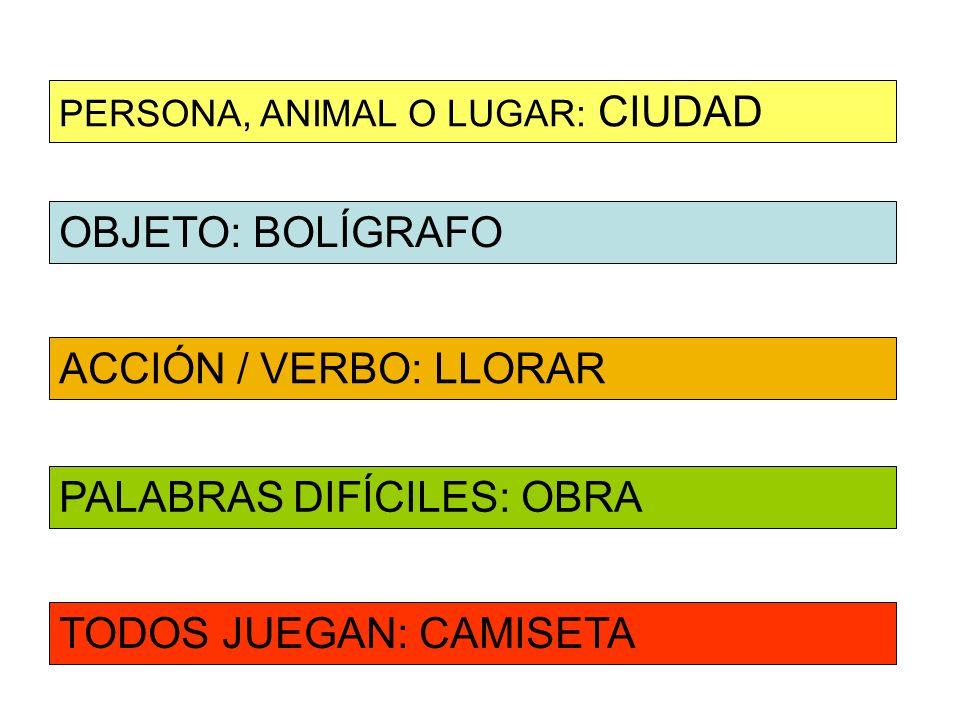 OBJETO: BOLÍGRAFO ACCIÓN / VERBO: LLORAR PERSONA, ANIMAL O LUGAR: CIUDAD PALABRAS DIFÍCILES: OBRA TODOS JUEGAN: CAMISETA