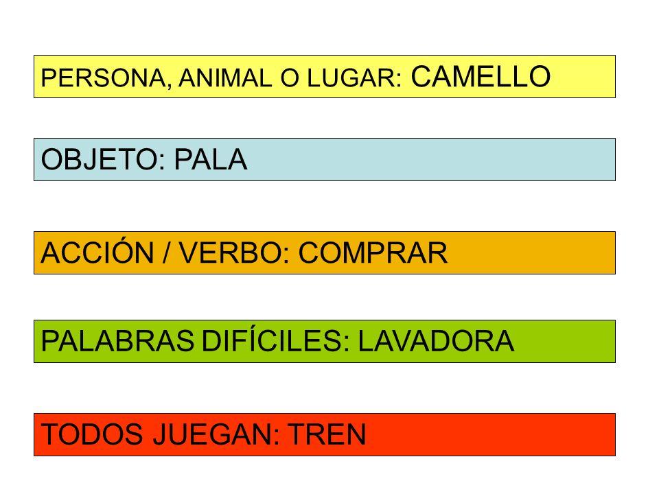 OBJETO: PALA ACCIÓN / VERBO: COMPRAR PERSONA, ANIMAL O LUGAR: CAMELLO PALABRAS DIFÍCILES: LAVADORA TODOS JUEGAN: TREN