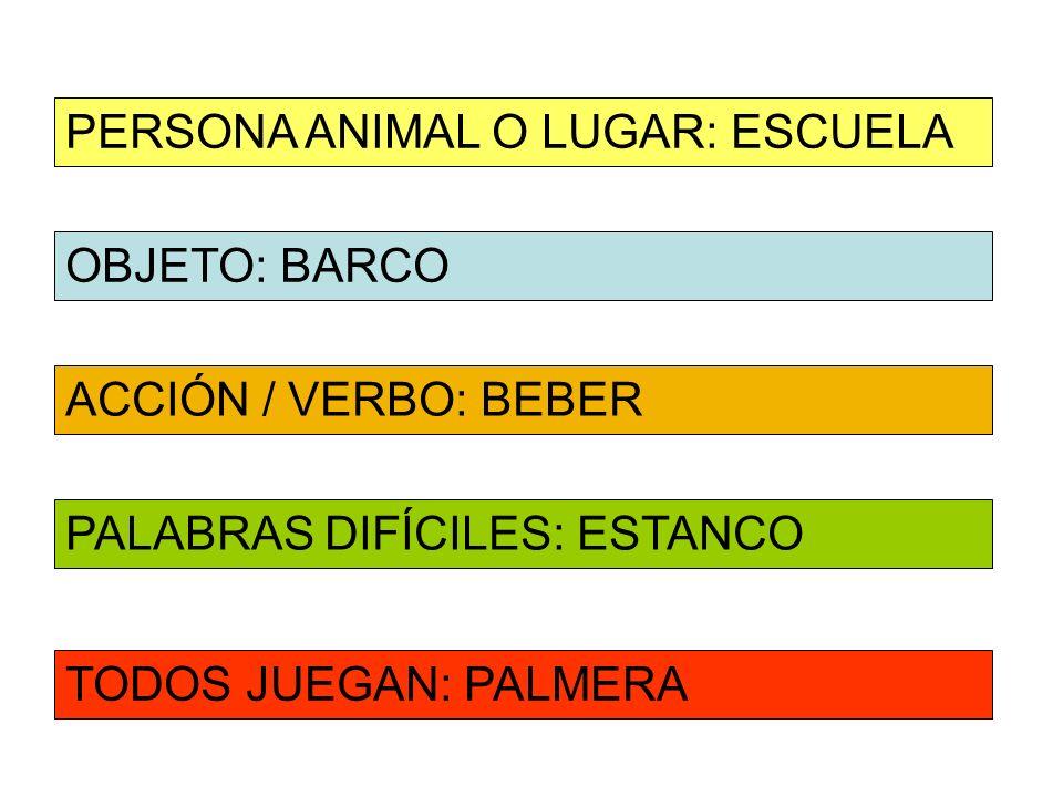 OBJETO: BARCO ACCIÓN / VERBO: BEBER PERSONA ANIMAL O LUGAR: ESCUELA PALABRAS DIFÍCILES: ESTANCO TODOS JUEGAN: PALMERA