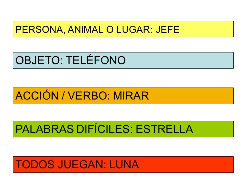 OBJETO: TELÉFONO ACCIÓN / VERBO: MIRAR PERSONA, ANIMAL O LUGAR: JEFE PALABRAS DIFÍCILES: ESTRELLA TODOS JUEGAN: LUNA