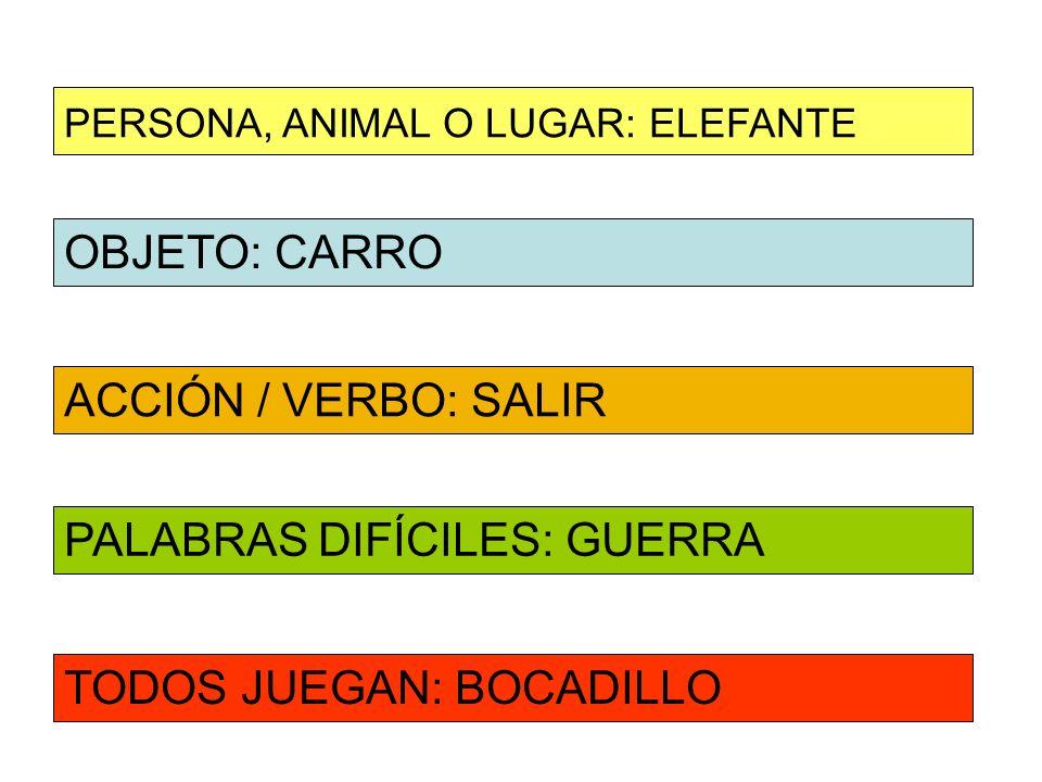 OBJETO: CARRO ACCIÓN / VERBO: SALIR PERSONA, ANIMAL O LUGAR: ELEFANTE PALABRAS DIFÍCILES: GUERRA TODOS JUEGAN: BOCADILLO