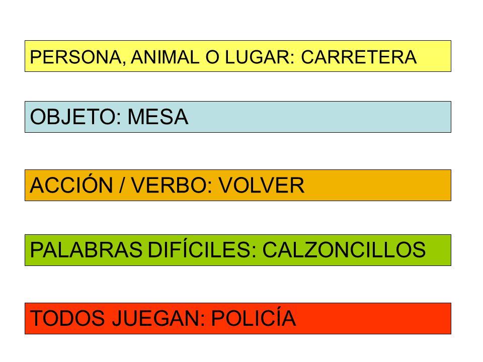 OBJETO: MESA ACCIÓN / VERBO: VOLVER PERSONA, ANIMAL O LUGAR: CARRETERA PALABRAS DIFÍCILES: CALZONCILLOS TODOS JUEGAN: POLICÍA