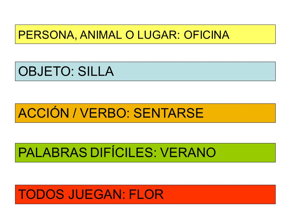 OBJETO: SILLA ACCIÓN / VERBO: SENTARSE PERSONA, ANIMAL O LUGAR: OFICINA PALABRAS DIFÍCILES: VERANO TODOS JUEGAN: FLOR