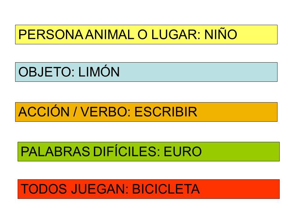 OBJETO: LIMÓN ACCIÓN / VERBO: ESCRIBIR PERSONA ANIMAL O LUGAR: NIÑO PALABRAS DIFÍCILES: EURO TODOS JUEGAN: BICICLETA