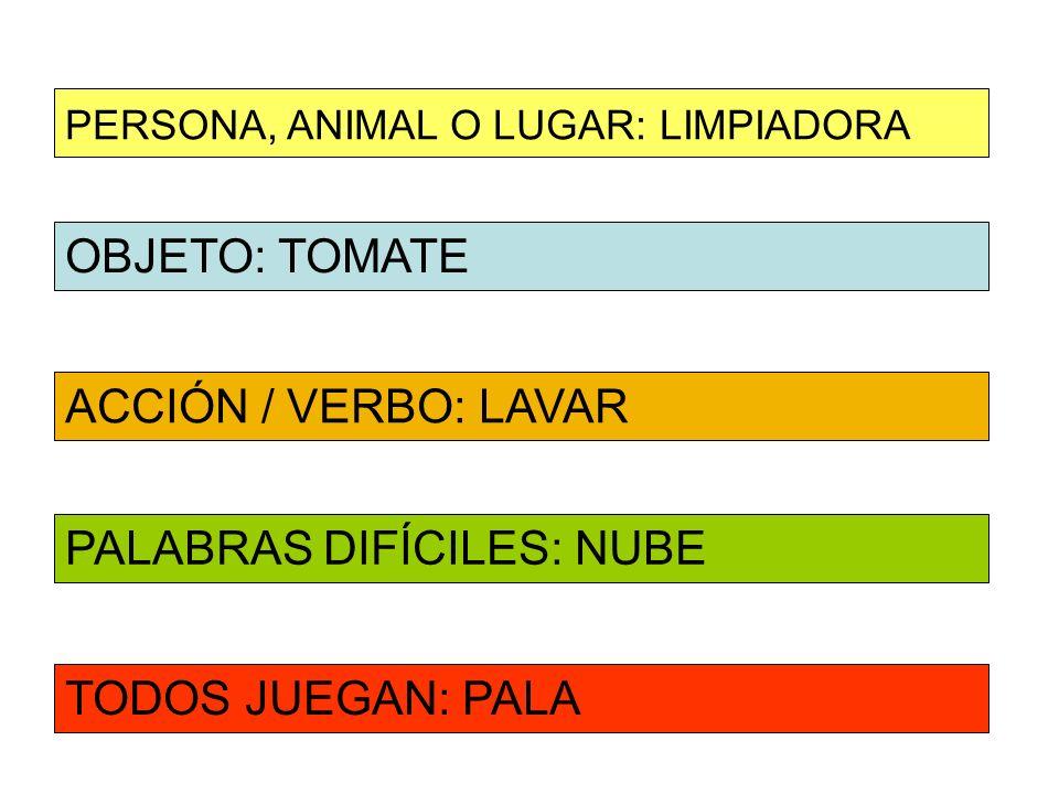 OBJETO: TOMATE ACCIÓN / VERBO: LAVAR PERSONA, ANIMAL O LUGAR: LIMPIADORA PALABRAS DIFÍCILES: NUBE TODOS JUEGAN: PALA