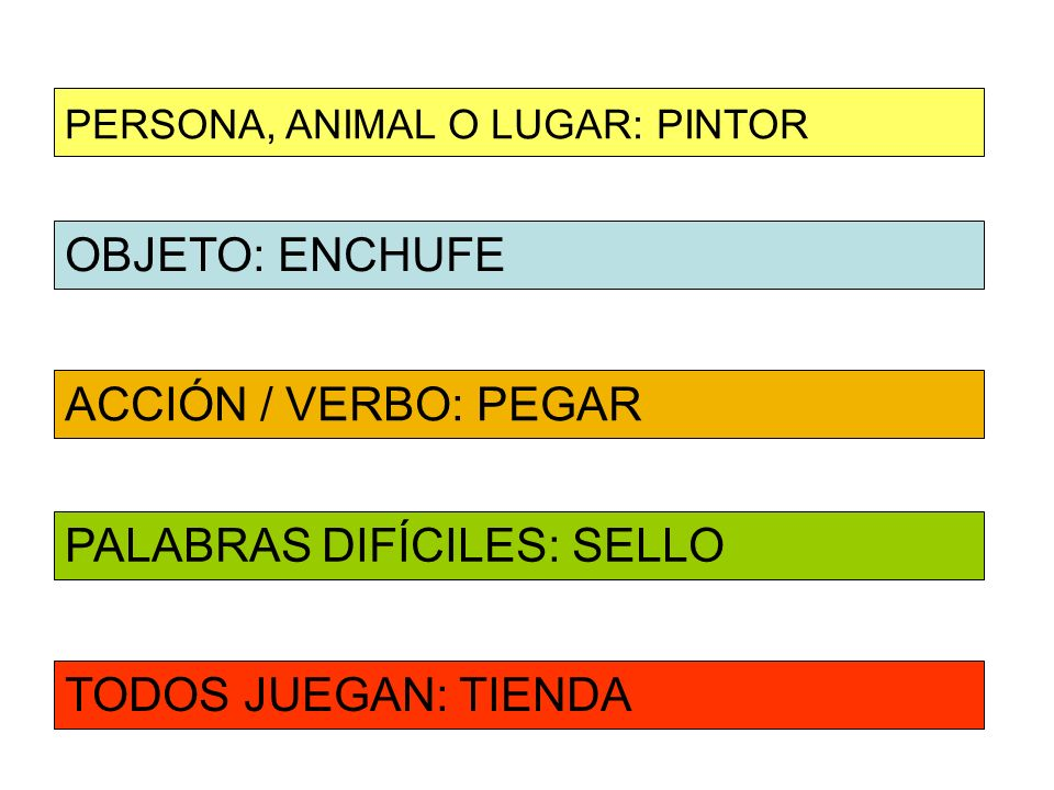OBJETO: ENCHUFE ACCIÓN / VERBO: PEGAR PERSONA, ANIMAL O LUGAR: PINTOR PALABRAS DIFÍCILES: SELLO TODOS JUEGAN: TIENDA