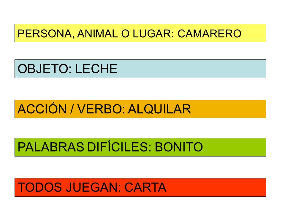 OBJETO: LECHE ACCIÓN / VERBO: ALQUILAR PERSONA, ANIMAL O LUGAR: CAMARERO PALABRAS DIFÍCILES: BONITO TODOS JUEGAN: CARTA
