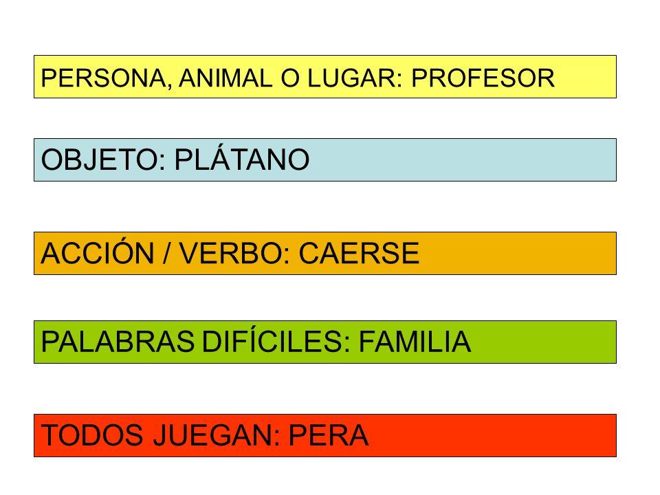 OBJETO: PLÁTANO ACCIÓN / VERBO: CAERSE PERSONA, ANIMAL O LUGAR: PROFESOR PALABRAS DIFÍCILES: FAMILIA TODOS JUEGAN: PERA