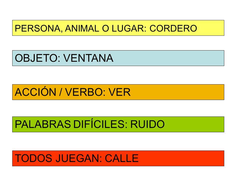 OBJETO: VENTANA ACCIÓN / VERBO: VER PERSONA, ANIMAL O LUGAR: CORDERO PALABRAS DIFÍCILES: RUIDO TODOS JUEGAN: CALLE