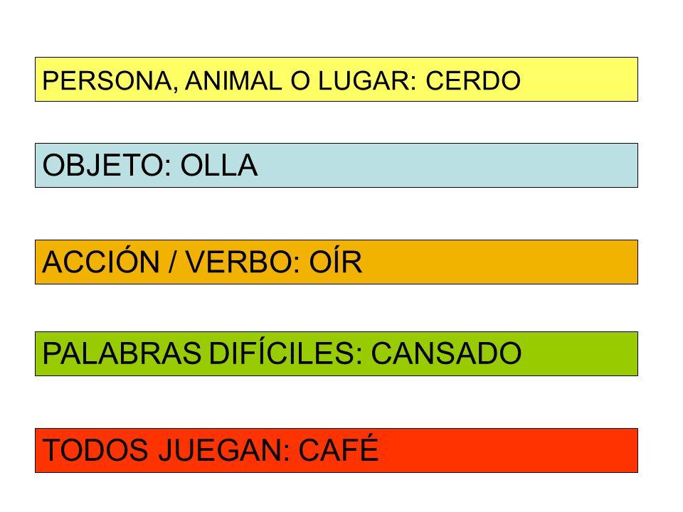OBJETO: OLLA ACCIÓN / VERBO: OÍR PERSONA, ANIMAL O LUGAR: CERDO PALABRAS DIFÍCILES: CANSADO TODOS JUEGAN: CAFÉ