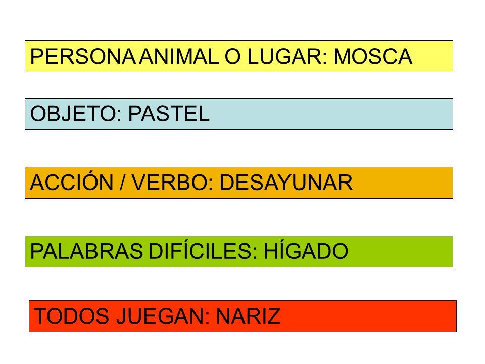 OBJETO: PASTEL ACCIÓN / VERBO: DESAYUNAR PERSONA ANIMAL O LUGAR: MOSCA PALABRAS DIFÍCILES: HÍGADO TODOS JUEGAN: NARIZ