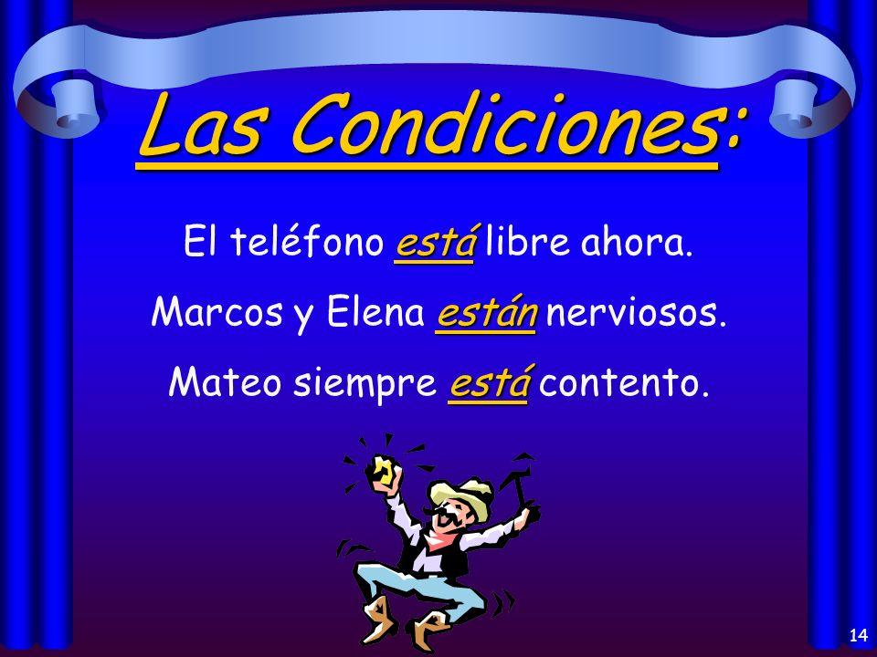 13 La Localización: está Madrid está en España. están Mis libros están en mi casa. estáis ¿Dónde estáis vosotros?
