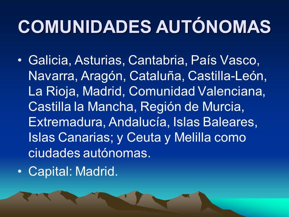 DIVISIONES ADMINISTRATIVAS Desde 1983 componen el territorio español 17 comunidades autónomas: Andalucía, Aragón, Asturias, Canarias, Cantabria, Casti
