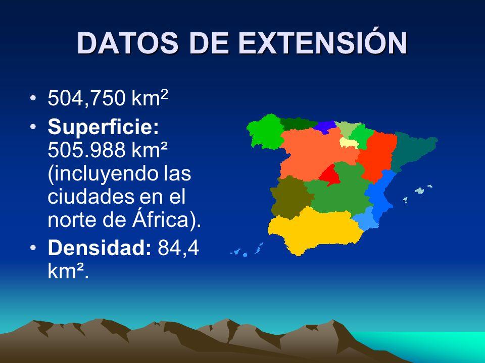 DATOS DE EXTENSIÓN 504,750 km 2 Superficie: 505.988 km² (incluyendo las ciudades en el norte de África).