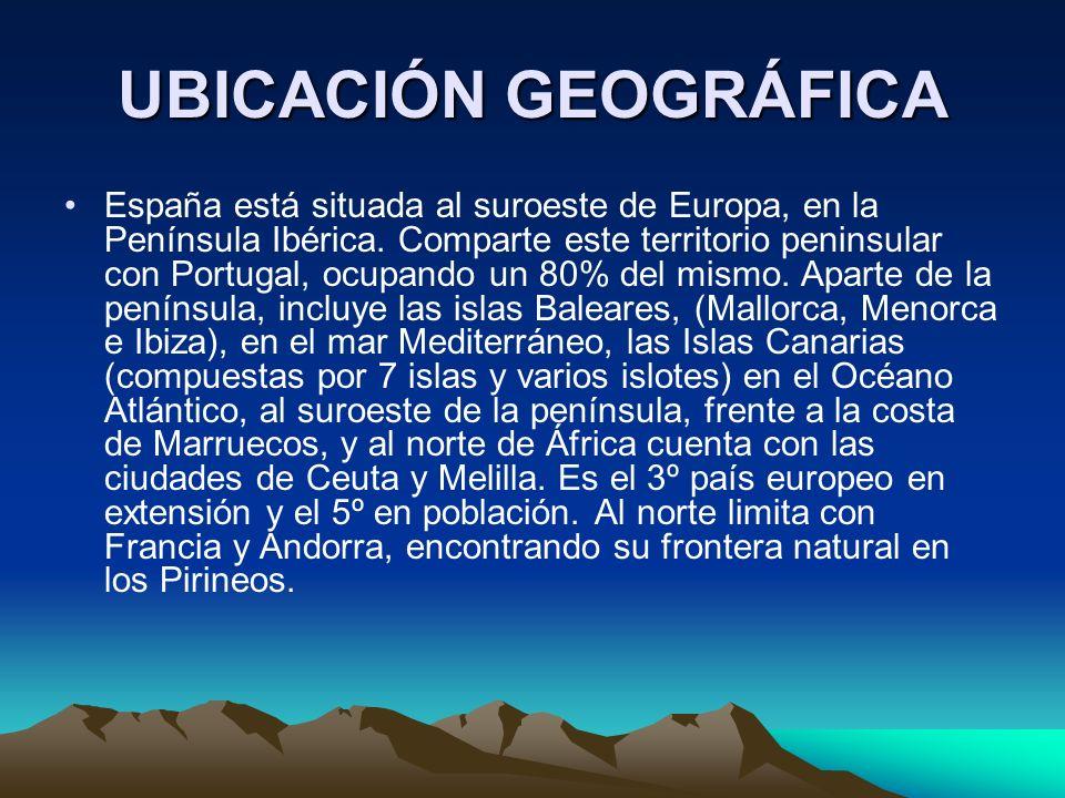 UBICACIÓN GEOGRÁFICA España está situada al suroeste de Europa, en la Península Ibérica.