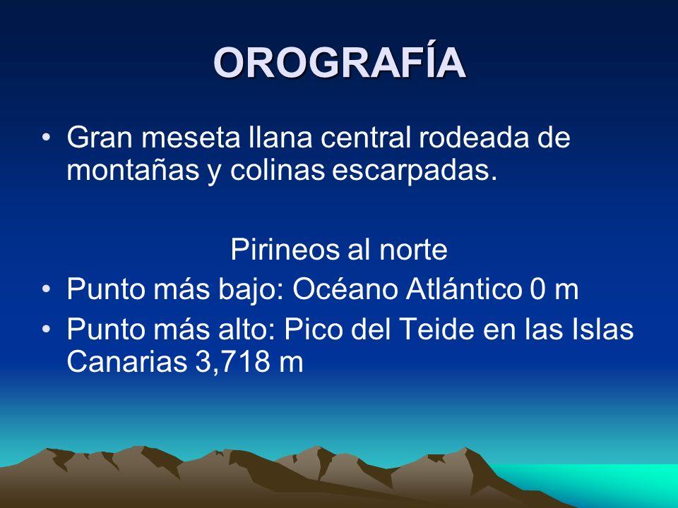 OROGRAFÍA Gran meseta llana central rodeada de montañas y colinas escarpadas.