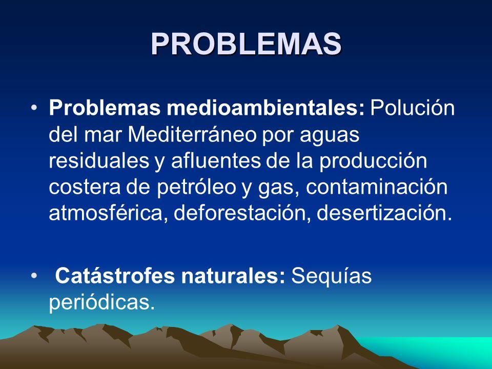 PROBLEMAS Problemas medioambientales: Polución del mar Mediterráneo por aguas residuales y afluentes de la producción costera de petróleo y gas, contaminación atmosférica, deforestación, desertización.