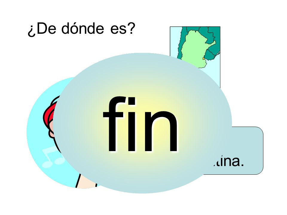 ¿De dónde es? Es de Argentina. fin