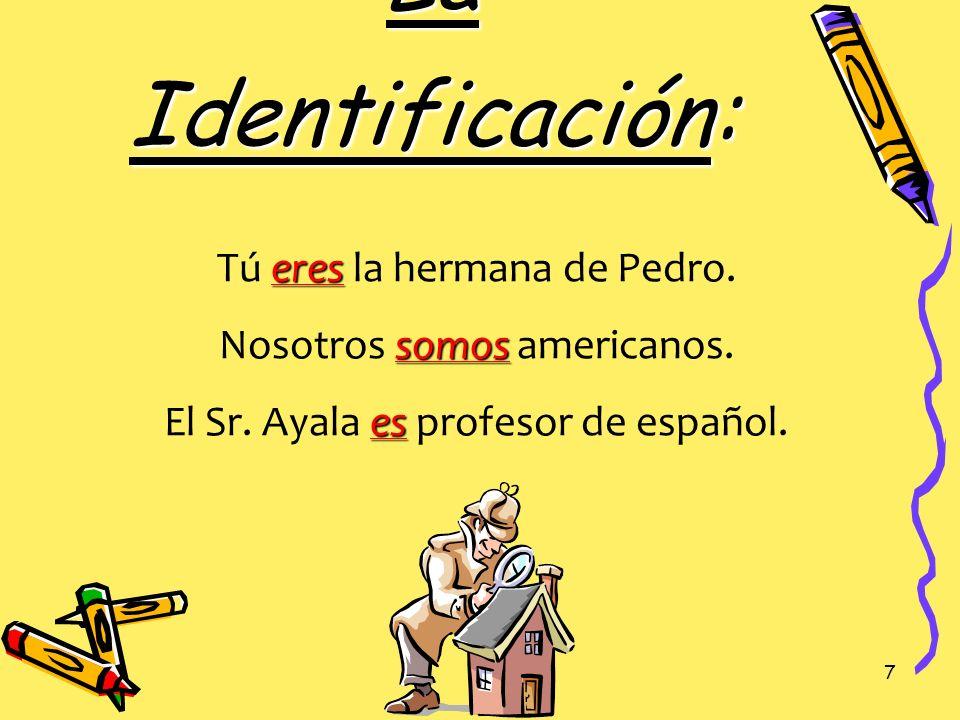 6 El Origen: es Juan es de España. es El libro es de Guatemala. son Mis primos son de Buenos Aires.