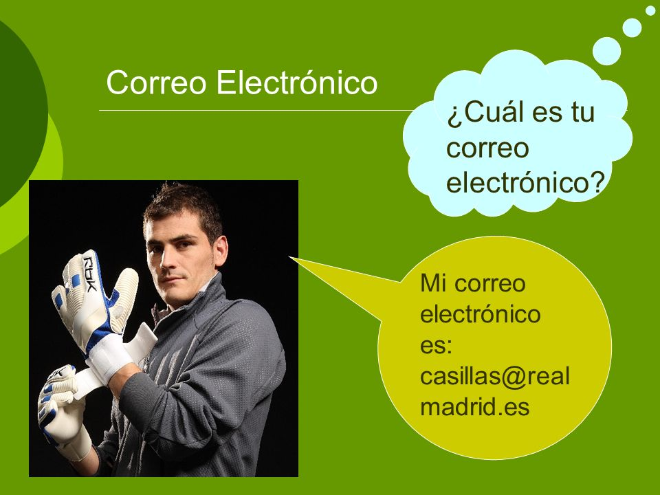 Correo Electrónico ¿Cuál es tu correo electrónico? Mi correo electrónico es: casillas@real madrid.es