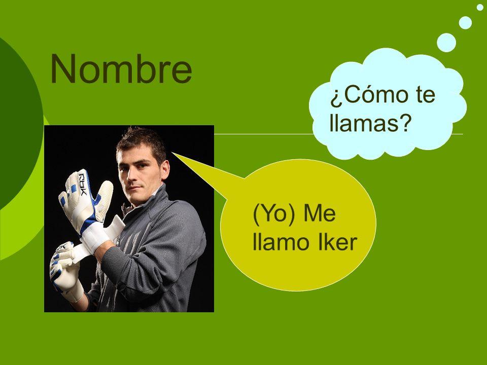 Nombre ¿Cómo te llamas? (Yo) Me llamo Iker