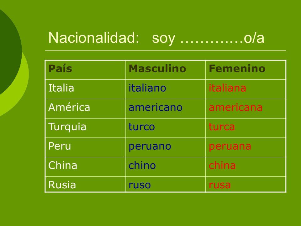 Nacionalidad: soy ……….…o/a PaísMasculinoFemenino Italiaitalianoitaliana Américaamericanoamericana Turquiaturcoturca Peruperuanoperuana Chinachinochina