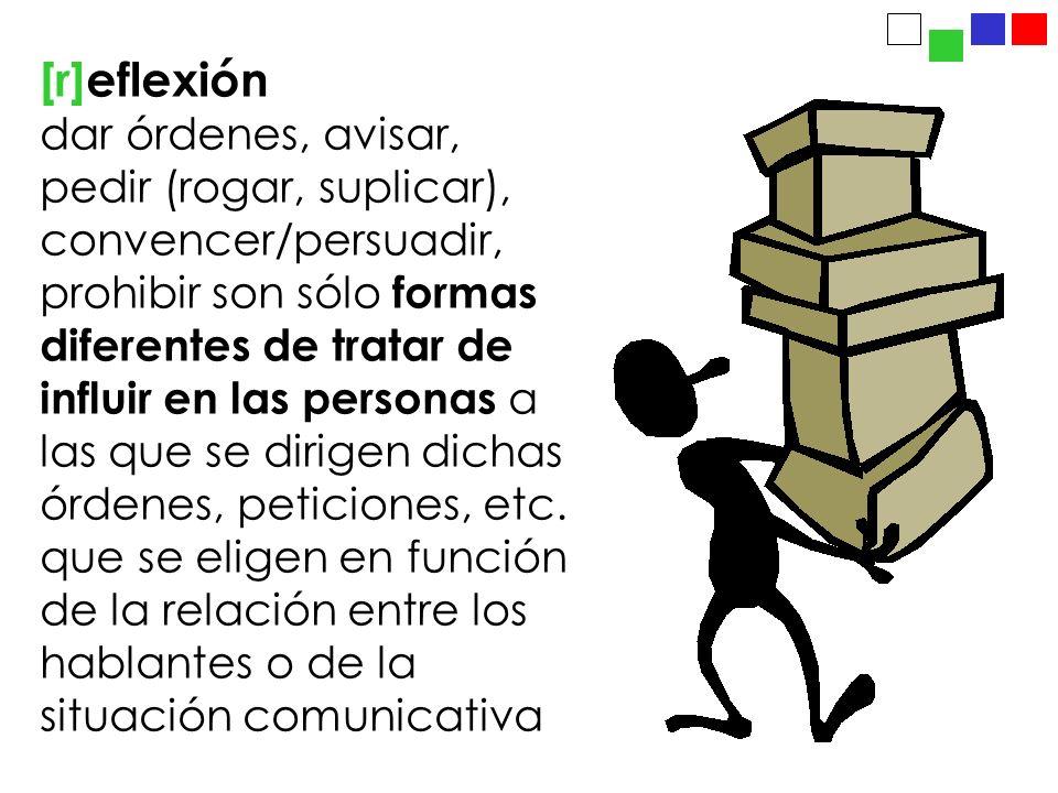 [r]eflexión dar órdenes, avisar, pedir (rogar, suplicar), convencer/persuadir, prohibir son sólo formas diferentes de tratar de influir en las persona