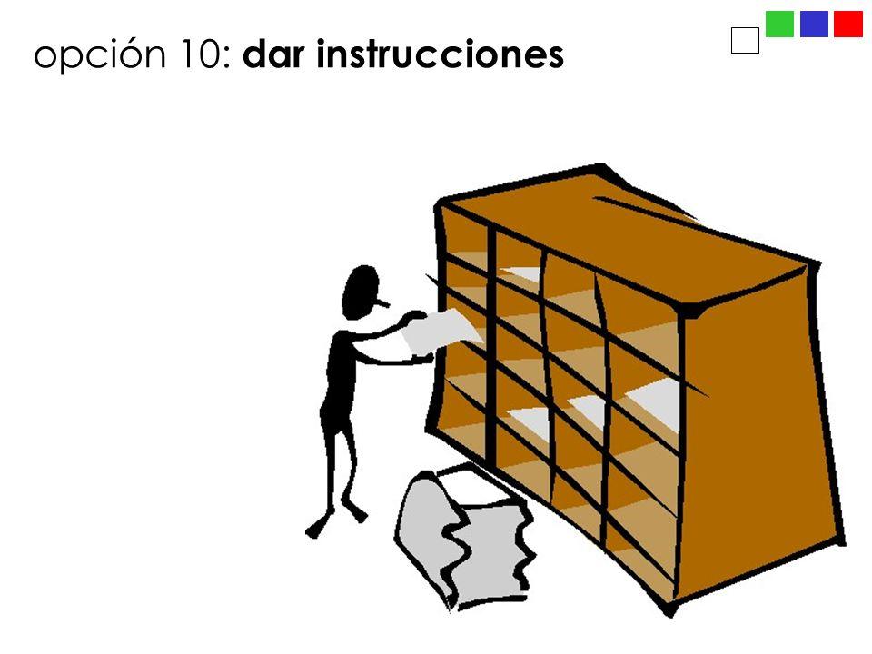 opción 10: dar instrucciones
