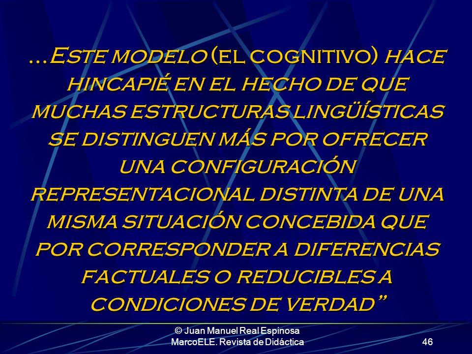 © Juan Manuel Real Espinosa MarcoELE. Revista de Didáctica45 En su magistral artículo Potencial pedagógico de la Gramática Cognitiva para la elaboraci