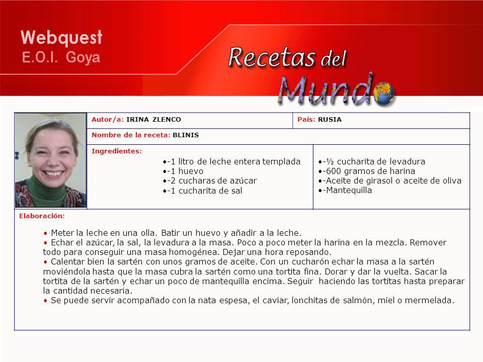 Autor/a: IRINA ZLENCOPaís: RUSIA Nombre de la receta: BLINIS Ingredientes: -1 litro de leche entera templada -1 huevo -2 cucharas de azúcar -1 cuchari
