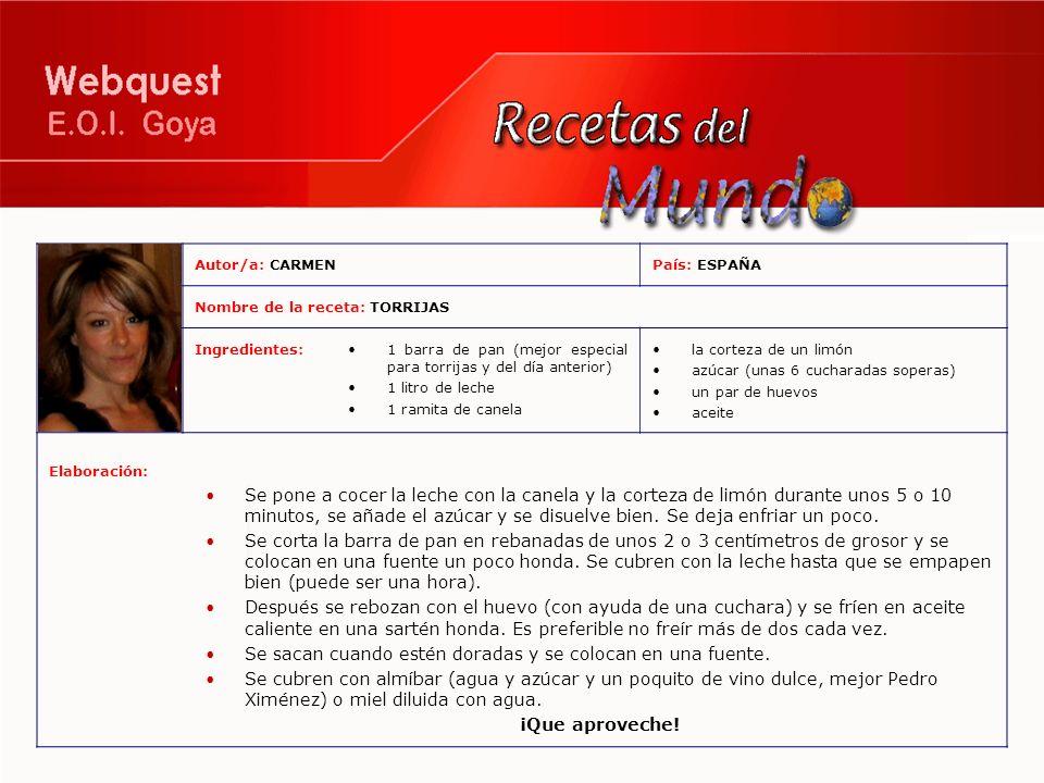 Autor/a: CARMENPaís: ESPAÑA Nombre de la receta: TORRIJAS Ingredientes:1 barra de pan (mejor especial para torrijas y del día anterior) 1 litro de lec