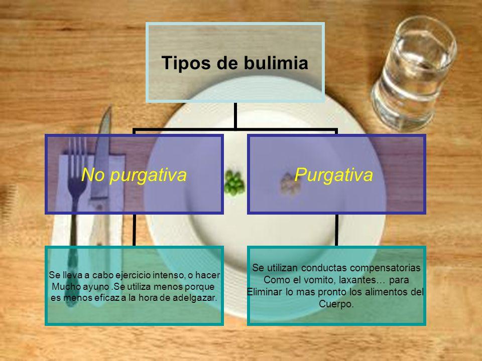 Tipos de bulimia No purgativa Se lleva a cabo ejercicio intenso, o hacer Mucho ayuno.Se utiliza menos porque es menos eficaz a la hora de adelgazar.