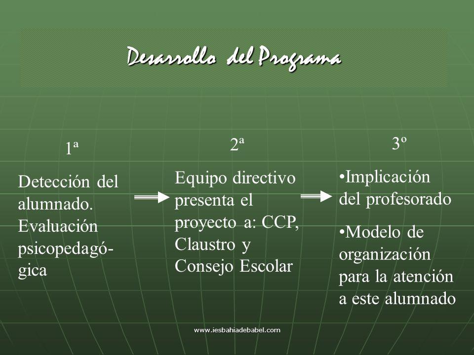 www.iesbahiadebabel.com Desarrollo del Programa 1ª Detección del alumnado. Evaluación psicopedagó- gica 2ª Equipo directivo presenta el proyecto a: CC