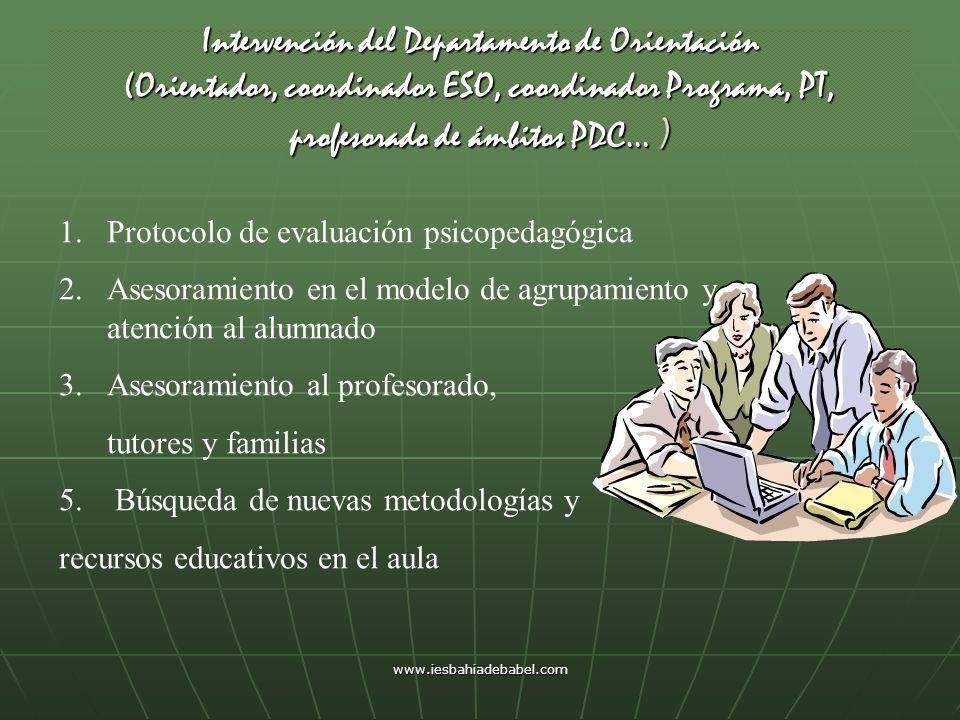 Intervención del Departamento de Orientación (Orientador, coordinador ESO, coordinador Programa, PT, profesorado de ámbitos PDC… ) 1.Protocolo de eval
