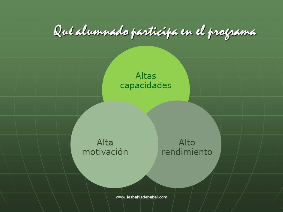 www.iesbahiadebabel.com Qué alumnado participa en el programa Altas capacidades Alto rendimiento Alta motivación